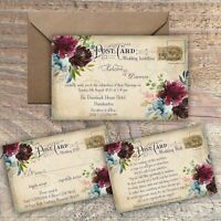 PERSONALISED VINTAGE POSTCARD MULBERRY & BLUE WEDDING INVITATIONS PACKS OF 10