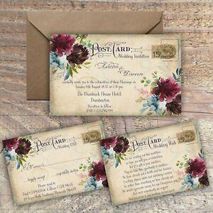 PERSONALISED VINTAGE POSTCARD MULBERRY & BLUE WEDDING INVITATIONS PACKS OF 10