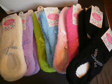 Lot of 6 Slipper Socks Fuzzy Warm Booties w/Grips Ladies 9-11 Bows Comfortable