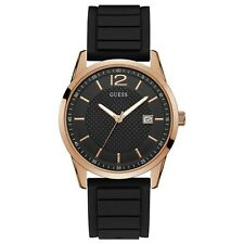 Guess Men's Perry Rose Gold Tone Stainless Steel & Black Rubber Watch W0991G7