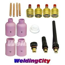 "TIG Welding Torch 9/20 Large Gas Lens Accessory Kit .020~1/8"" T33 US Seller Fast"