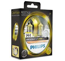 2 Bombillas Philips ColorVision Amarillo H4 + Luz Faros Coche Color Vision Xenon