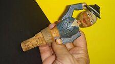 Vintage Anri gentleman carved wood bottle stopper waving hat