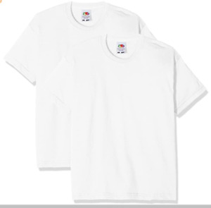 Fruit of the Loom White Valueweight T-Shirt XS S M L XL XXL 100% cotton Unisex
