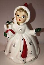 Vintage Napco Christmas Girl W/ Gift Figurine Planter Candy Holder X-8389