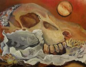 SKULLS & HOT SUN Abstract Oil Painting by KEITH JOHNSON 1931-2018