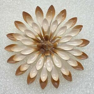 Vintage METAL FLOWER BROOCH Pin White Brown Enamel Gold Tone Costume Jewelry