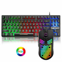 K16 Wired 87 Keys Gaming Keyboard and Mouse Combo Rainbow Backlit for PC Laptop