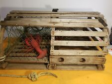 "Antique Bar Harbor Maine Lobster Trap Round Top 30x24x15"" Orig Tags w/Lobsters"