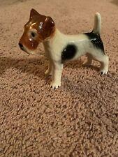 Vintage Black, Tan & White Sitting Wire Hair Fox Terrier Ceramic Figurine