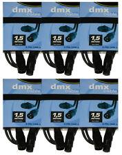 6 x DMX Kabel 1,5m , XLR 3-pol. male-female  für 110 Ohm Anwendung