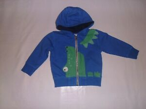 Next Blue Hooded Sweat Jacket with Green Crocodile Front Age 12-18 Months