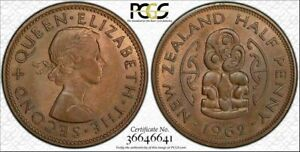 1962 NEW ZEALAND HALF PENNY PCGS MS65BN BU RARE TONED FINEST KNOWN WORLD WIDE