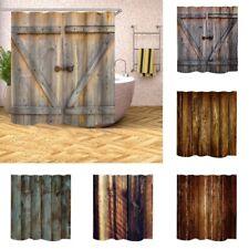 Modern Style Bathroom Shower Curtain Polyester Wood Board Door Print Home Decor