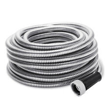 Stainless Steel Metal Garden Hose Water 50/75/100FT Flexible Lightweight Outdoor
