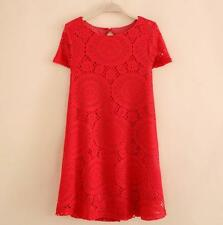 Plus Size Dress Women Holiday Lace Party Ladies Summer Mini Beach Sundress DS