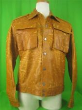 FERRE JEANS ITALY Tan Distressed Leather NEW Stunning Jacket XL/L