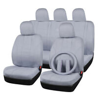 Universal Grey Car Seat Cover Polyester Steering Wheel Cover Airbag Compatible