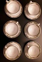 "NORITAKE ""WARRINGTON"" - SET OF SIX CUPS & SAUCERS - White & Green & Gold  - 6872"