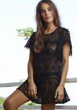 NWT PILYQ BLACK POM POM CROCHET COVER UP TUNIC DRESS XS/S $144   SFS
