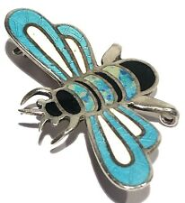 JERONIMO FUENTES VINTAGE STERLING SILVER ENAMEL ARTISAN INSECT BROOCH PIN