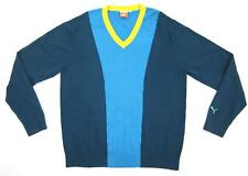 NEW! Men's Puma Colorblock V-Neck Cotton Golf Sweater Teal Blue Yellow Sz. Large