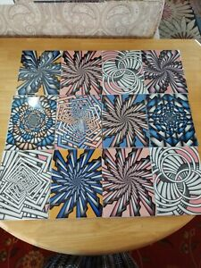 """Ceramic Geometric Psychedelic Tiles 6""""x8"""" Made in Mexico 20 Tiles"""