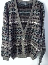 David Taylor Cardigan Sweater L Large 44 Chest Brown/Burgundy/Green