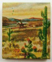 Saguaro Old West Cactus Mountains Landscape Full Unstruck Vintage Matchbook Ad