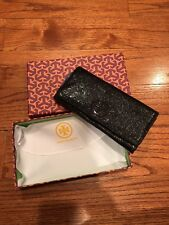 Tory Burch wallet shimmery crinkled metallic black wallet with box