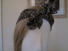 ATMOSPHERE - PALE PINK, BLACK FLORAL BANDANNA. ONE SIZE FITS ALL