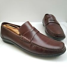 SANTONI Brown Leather Driving Penny Loafers Moc Toe Slip On Casual Shoes 11.5 D
