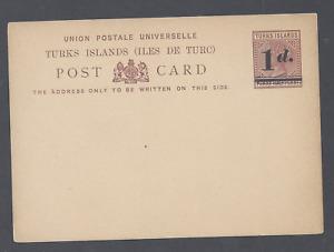 TURKS ISLANDS QV POSTAL STATIONERY UPU  POST CARD 1d. on PENNY HALFPENNY UNUSED
