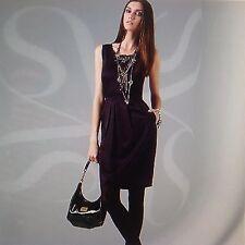 **8* Simply Vera Vera Wang Jeweled Chiffon-Trim Charmeuse Dress Top Tunic Blouse