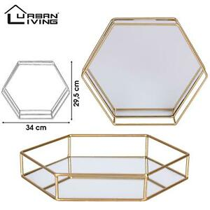Hexagonal Tea Light Candle Tray Mirrored Glass Plate Gold