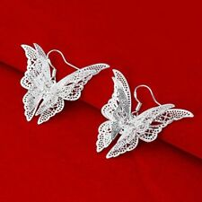 Silver Plated Charming Charm Butterfly Earrings Jewelry Hook Eardrop Dangle