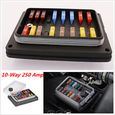 10-Way IP56 Waterproof ATO ATC Blade Fuse Box Holder Block 250 Amp LED Indicator