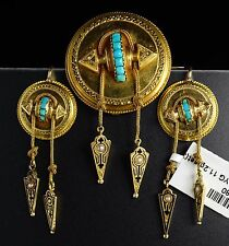Victorian 18K Yellow Gold Turquoise Seed Pearl Dangle Earrings Brooch set