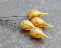 Butterscotch - Handmade Glass Lampwork Headpins MTO - Choose Etched or Glossy