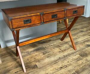 Beautiful Solid Walnut Console Table with 3 Drawers and Metal Edge Corners