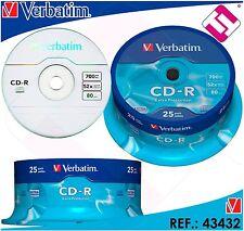 VERBATIM CD - R 700 MB 52X TARRINA 25 UNIDADES BOBINA 43522 IVA INCLUIDO +LPI