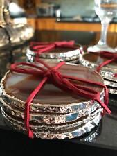Red Rust Agate Silver Edge, Gilded, Quartz Premium Coasters (set of 4)