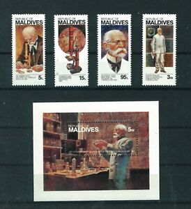 Maldives 1983 Discovery of T.B full set of stamps. MNH. Sg 987-990 & MS991