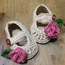 Bailarina Bebe Patucos Hilo Algodón Crudo Rosas 0/3 Crochet Zapato Ganchillo