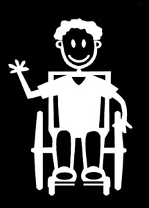 MY STICK FIGURE FAMILY Disabled Car Window Stickers Male Wheelchair Assisted M20
