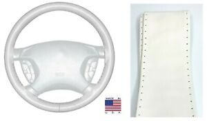 White Genuine Leather Steering Wheel Cover Grip Size C For Dodge & More