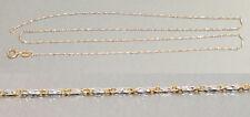 45 cm feine massive Goldkette 585 bicolor - Kette Gold - Fässchenkette Halskette