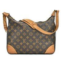 Authentic Louis Vuitton Monogram One Shoulder Hand Bag Purse Boulogne Brown LV