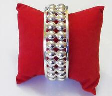 Beads tow row cuff silver bracelet