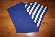 NWT Womens CHELSEA & THEODORE Blue White Bat Wing Sleeve Shirt Top L Large